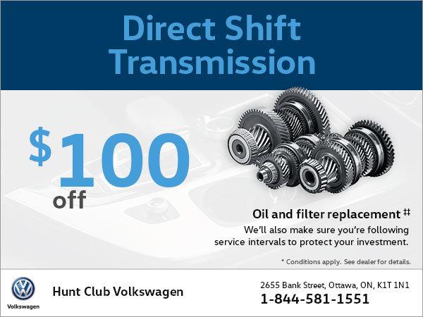 Get $100 Off a Direct Shift Transmission!
