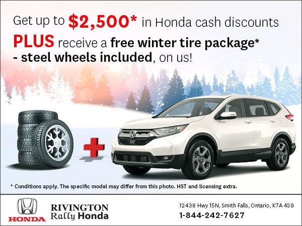 Get up to $2,500 in Honda Cash Discounts