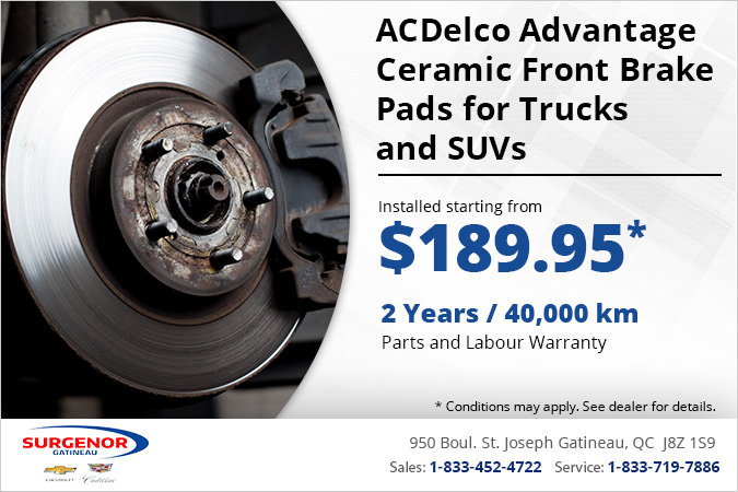 Get ACDelco Advantage Ceramic Front Brake Pads for Trucks/SUVs Installed!
