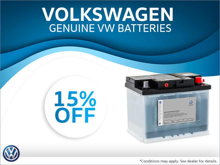 Get 15% Off Genuine Volkswagen Batteries!