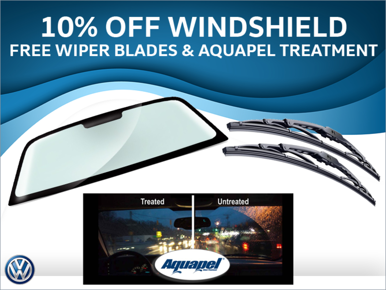 10% Off Windshield + Free wipers & Aquapel Treatment