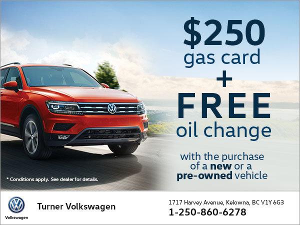 $250 Gas Credit & Free Oil Change