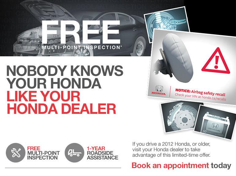 Honda Roadside Assistance >> Free Multi Point Inspection Lallier Honda Hull Promotion