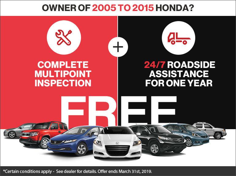 Honda Roadside Assistance >> Free Multipoint Inspection And Roadside Assistance