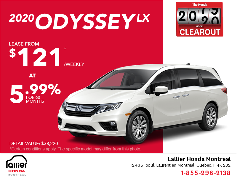 Lease the 2020 Honda Odyssey!