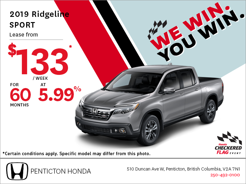 Get the 2019 Honda Ridgeline Today!