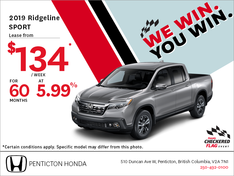 Get the 2019 Honda Ridgeline Today!