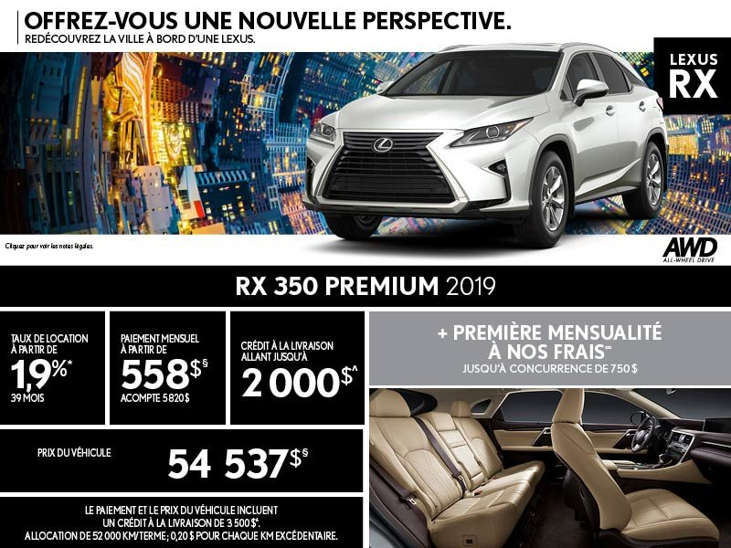 RX 350 2019 - Promotion août